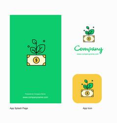 Money plant company logo app icon and splash page vector