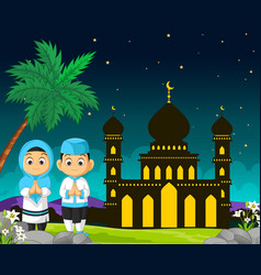 Mosque cartoon in night view with kids vector