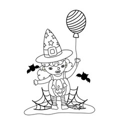 Outline happy girl with pumpkin costume and bats vector