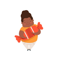 overweight african american boy with a huge candy vector image