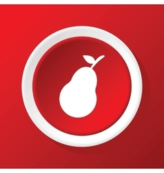 Pear icon on red vector image