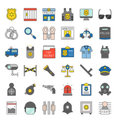 Police related icon set vector