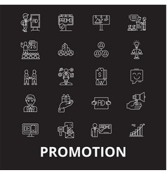 promotion editable line icons set on black vector image