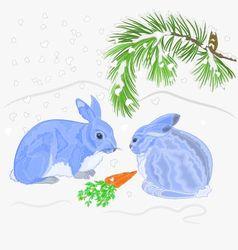 Rabbits and snow Christmas motive vector image