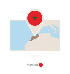 Rectangular map morocco with pin icon of vector