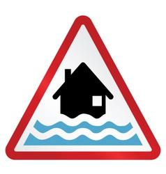RED FLOOD WARNING SIGN vector