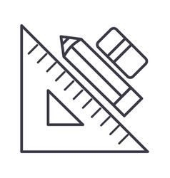 Rule pen and erasergraphic tools line icon vector