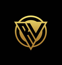 Rv logo monogram with triangle shape and circle vector