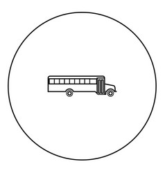 school bus black icon in circle outline vector image