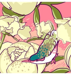 Seamless floral background with peonies bird vector image