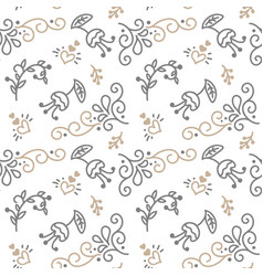 seamless pattern with hand painted leaves in vector image