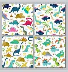 set cute dinosaur seamless patterns vector image