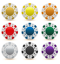Set gambling casino chips isolated vector
