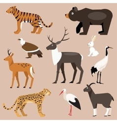 Set of animal far east vector