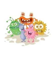 Set of Cartoon Monsters Funny Smiling Germs vector