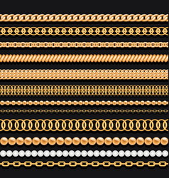 set of gold chains beads pearls and ropes on black vector image