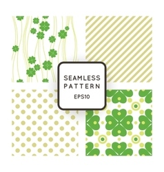 Set of seamless patterns with clovers vector image