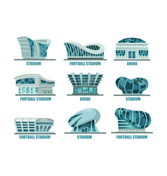 Set of soccer or football modern stadium building vector
