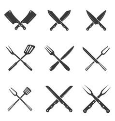 Set restaurant knives icons silhouette vector