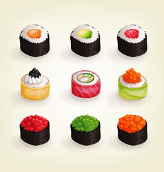 set various fresh and delicious sushi rolls vector image