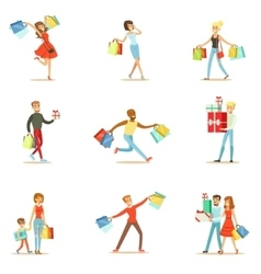 Shopaholic People Happy And Excited Running With vector