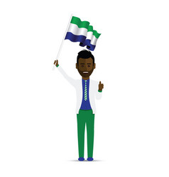 Sierra leone flag waving man vector