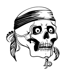 Skull with feathers vector image