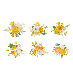 Spring flowers bouquets yellow daffodil rose vector