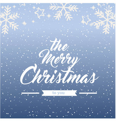 the merry christmas snowflake blue background vect vector image