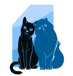 Two abstract cats vector image