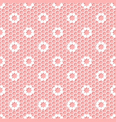 Vintage polka dot small flower lace seamless vector