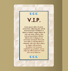 Vip flyer the card with blue stone vector