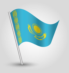 Waving simple triangle kazakhstani flag kazakhstan vector