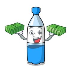 With money bag water bottle mascot cartoon vector