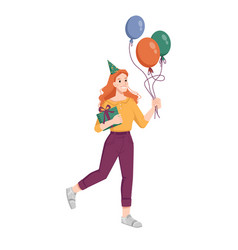 woman with balloons gift and hat go on birthday vector image