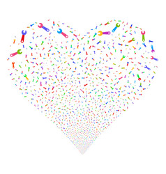 wrench fireworks heart vector image