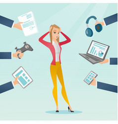 young caucasian woman surrounded by her gadgets vector image