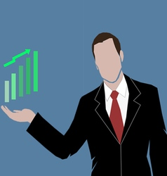 a business man showing the money market rising vector image