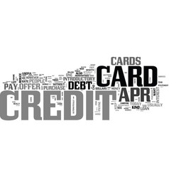 apr credit cards a tool to eliminate debt text vector image vector image