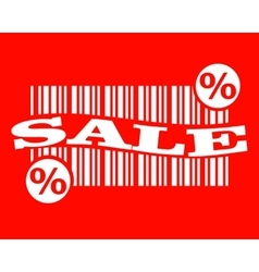 barcode with sale text and percent sign vector image vector image