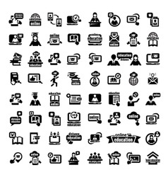 big online education icons set vector image vector image