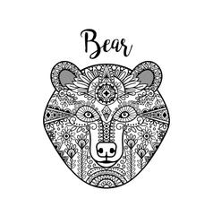 Hand drawn black doodle bear face vector image
