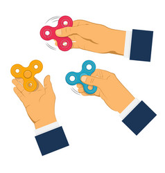 Hands holding gray fidget spinner vector