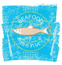 seafood restaurant menu on blue old paper vintage vector image vector image