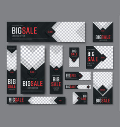 set of black web banners of standard sizes for vector image