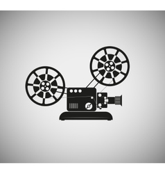 silhouette of the old film projector vector image vector image