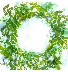Spring background wreath with green leaves vector image