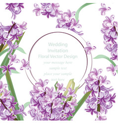 wedding invitation with lily flowers spring vector image vector image