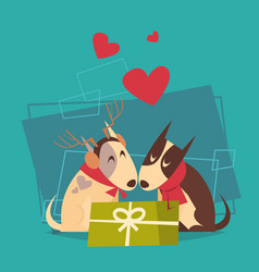 couple of dogs with gift box happy new year 2018 vector image