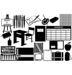 different objects for school vector image vector image
